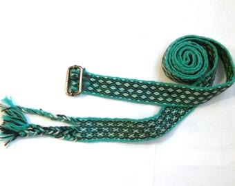 Wool Tablet Weaving Viking Belt - Green, White, Blue and Brown