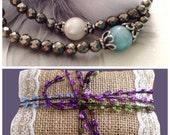 Bridesmaids jewelry 5 Gemstone bracelets pyrite gemstone Silver color minimalist dainty delicate stacking layering bracelet