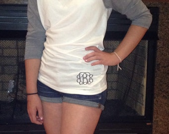 Monogrammed Fitted  Baseball Tee