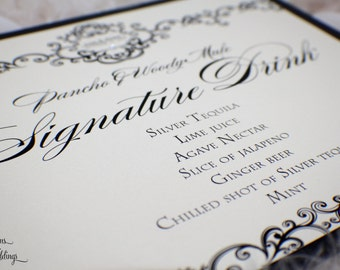 Signature Drink Signs | Black | Ivory