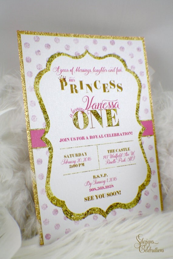 Princess First Birthday Invitation | One | Baby | Royal | Crown ...
