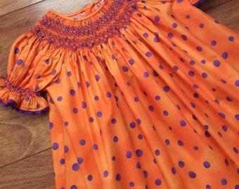 Toddler, Girl's Geometric Hand Smocked Bishop dress - Size 18m
