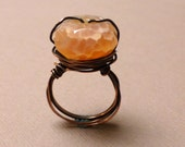 Copper Wrapped Fire Agate Ring. Wire Wrapped Ring. Gemstone Ring. Spiritual Flame Ring. Handmade Jewelry. Size 7.5.