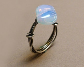 Sterling Silver Wrapped Opalite Ring. Wire Wrapped Ring. Gemstone Ring. Communication. Large Size. Handmade Ring. Size 10.5.