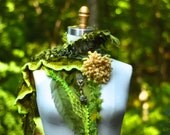 Cashmere green SCARF WRAP Woodland eco bohemian textured fantasy accessory with felted flower