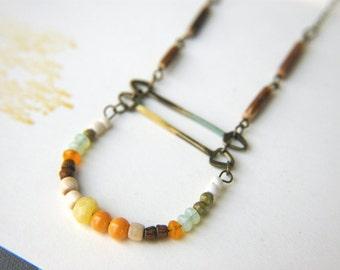 Bohemian Beaded Necklace Curve Bar Nomad Boho Multi-Colored Beads ~ Ayelen.