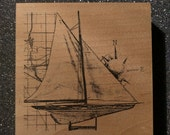 Sailboat with Map Stamp River City Rubber Works 2052N