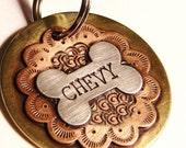 BUCKAROO Handmade Dog Tag, Cowgirl Style - Sterling Silver, Copper & Brass Dog Tag - Dog ID Tag - Pet Tag - Dog Tags