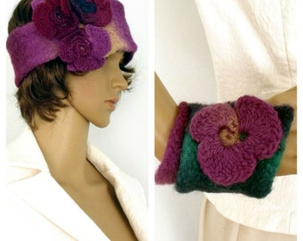SALE Headband & cuff SET, Hippie Headband, Felt headband and cuff, Freeform crochet, Boho headband, Wool headband, Wearable art