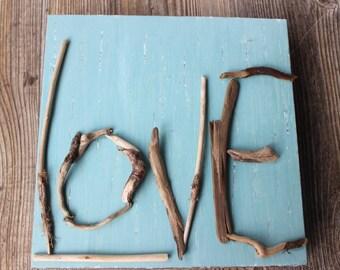 Beach Love Sign, One of a Kind Driftwood wall Decor , Original Coastal Art , Beach Wedding Decoration