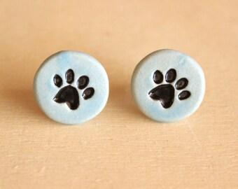 Cute Handmade Blue Porcelain Cat PAW PRINT Round Post Earrings