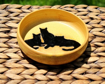Lovely Handmade Golden Stoneware Bowl with CATS SILHOUETTE