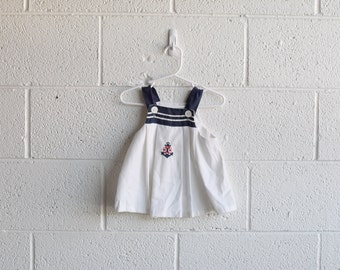 vintage toddler navy sailor dress with anchor 24 months MADE IN USA