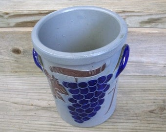 Salt Glazed Wine Cooler Crock / Grape Design