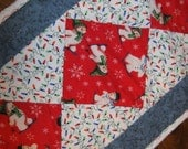 Snowmen and Lights Christmas Table Runner Blue and White Winter Quilt Placemats Quilted Snowmen Snowflakes Tablecloth Retro Table Runner