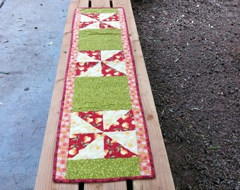 Table Runner, Green and Yellow Pear Pinwheels, Table Runner Quilted Table Runner, Green and Yellow Placemats, Table Linens, Quiltsy Handmade