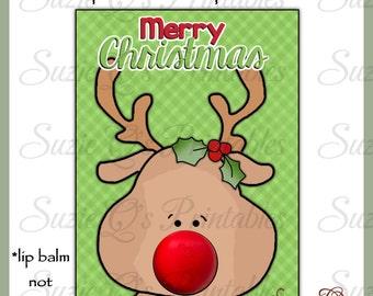 Rudolph EOS Lip Balm Card - Digital Printable - Immediate Download