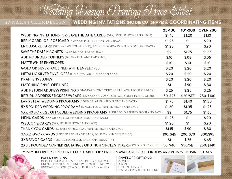 Printing price list for wedding invitations and coordinating for Wedding invitation printing prices