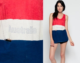 Australia Shirt Striped Tank Top 80s Paper Thin DISTRESSED Burnout Red White Blue Ripped Retro 1980s Hipster Vintage Beach Small Medium