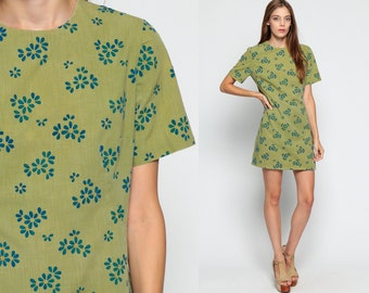 60s Mod Mini Dress Shift Olive Green Floral Print Twiggy 1960s A Line Vintage Sixties Minidress Flower Power Short Sleeve Blue Large