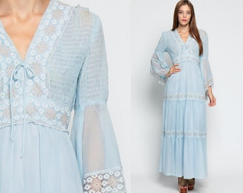 Bohemian Maxi Dress 70s ANGEL SLEEVE Lace Baby Blue Smocked Hippie Boho Wedding Bell Empire Waist Vintage Pastel Tiered Gown Medium