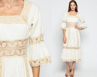 Bohemian Dress 70s Midi MEXICAN Wedding Crochet LACE Sheer BELL Sleeve 1970s Pintuck Boho Hippie Vintage White Cream Cotton Small Medium