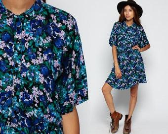 80s Floral Dress Mini Button Up Romantic Vintage Grunge COLLAR Boho Blue 1980s High Waisted Bohemian Short Sleeve Pocket medium Large