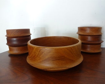 TEAK BOWL SET with Serving Size and Six Place Settings