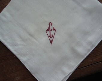 "Vintage Unisex ""E"" Monogram on White Handkerchief. 17 inch square"