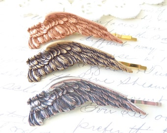 Sterling Silver Plated Dark Angel Wing Hair Pin Set - Angel Wing Bobby Pin - Silver Wing - Silver Feather - Bird Wing - Woodland