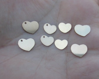 Small Gold filled Heart Charms(4 hearts)