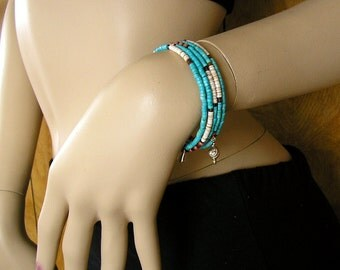 Turquoise and shell heshi Beads on memory wire bracelet - 60mm across 1 bracelet with 4  wraps