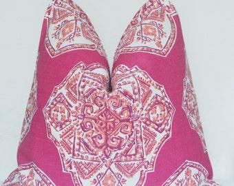 Handmade Pillow, Fuchsia Pillow, Medallion Pillow, Decorative Pillow, Throw Pillow, Toss Pillow, Made in USA, Home Furnishing, Home Decor