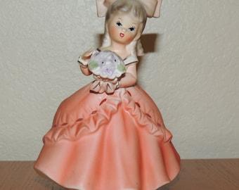 Little Girl in Apricot Ceramic Planter