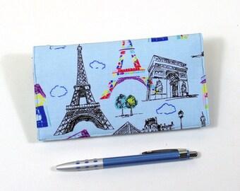 Paris Fabric Checkbook Cover for Duplicate Checks with Pen Holder on Light Blue Cotton Fabric, Eiffel Tower, Arc de Triomphe