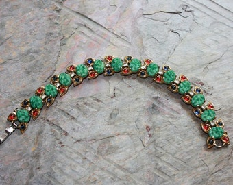 Vintage Bracelet in Green Jade, Ruby and Sapphire