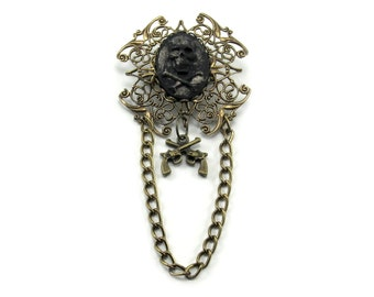 SALE 50% OFF Unisex Gothic Brooch / Pendant Combo - Double-cross - w/ Metallic Gold Black Skull and Crossbones Pirate Cameo