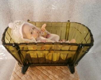 Doll & Glass Baby Bassinet ArtMark Bisque ~ Porcelain Baby -  Green Glass Baby Bassinet
