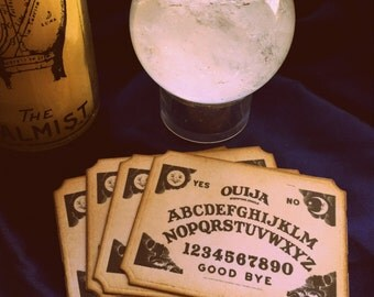 Ouiji Ouija Halloween Stickers/ Vintage Halloween Labels SET of 4/ Spooky Halloween Sticker Decorations