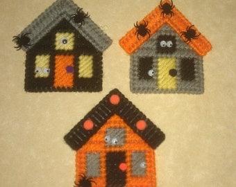 3 Handmade Haunted House Magnets Plastic Canvas