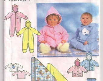 Babies Romper Knit Top Simplicity 7807 Hooded Jacket Pants Pattern Blanket Infant Outerwear Cold Weather Gear Nb Sm Md Lg, 7 - 24 lbs
