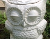 Ceramic owl planter, treat jar, utensil holder, white, opaque