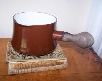 DANSK Kobenstyle, Enamelware Pot, Butter Warmer, Brown White Enamel, Wooden Handle, Jens Quistgaard, Dansk IHQ Enamel Pot, Vintage