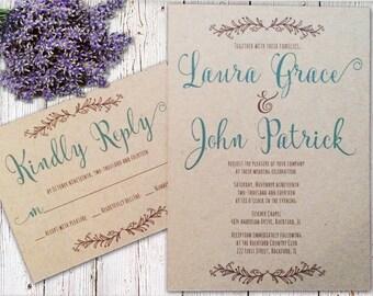 Kraft Rustic Wedding Invitation - Color Calligraphy Font, Script Kraft Wedding Invitation, Teal and Brown Wedding Invitation