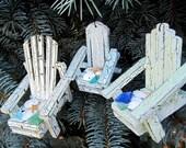 Nautical Beach Decor Adirondack Chair Christmas Ornaments w Sand Dollars, Beach Glass, Starfish - SET OF 3