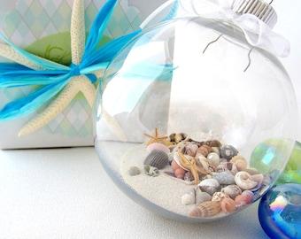 Beach Christmas Ornament Ball Kit w Seashells, Nautical Christmas Ornament, Coastal Christmas Ornament, DIY Christmas Ornament Kit, #ORNKIT