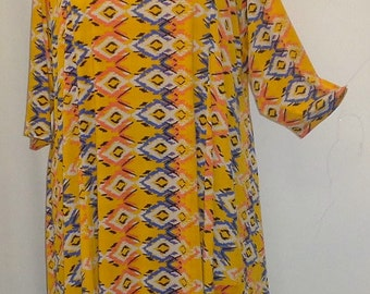 Plus Size Tunic Coco and Juan Plus Size Asymmetric Tunic Top Golden Yellow Diamond Print Traveler Knit Size 2 (fits 3X,4X)   Bust 60 inches