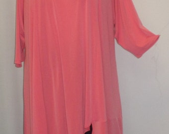 Coco and Juan Lagenlook Plus Size Asymmetric Tunic  Top Dk Coral Knit Size 2 (fits 3X,4X)  Bust 60 inches