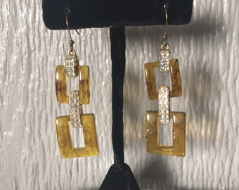 Vintage Square Link Lucite Rhinestone Dangle Pierced Earrings