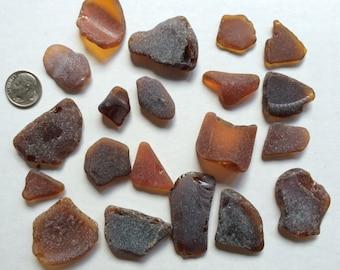 20 Pieces Brown Natural Beach Glass
